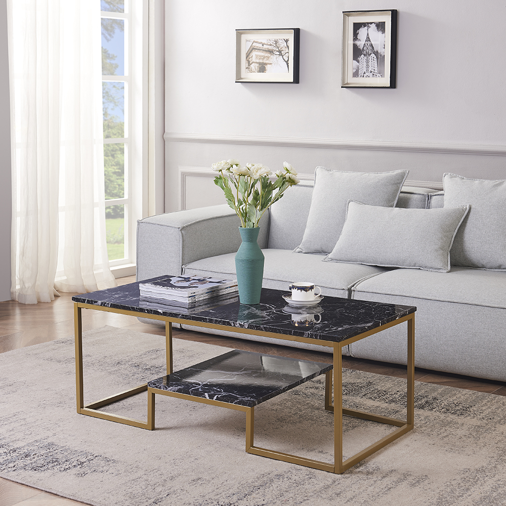 Rosen Garden Faux Marble Coffee Table With Metal Frame Rectangular Sofa Table With Shelf Black Walmart Com Walmart Com