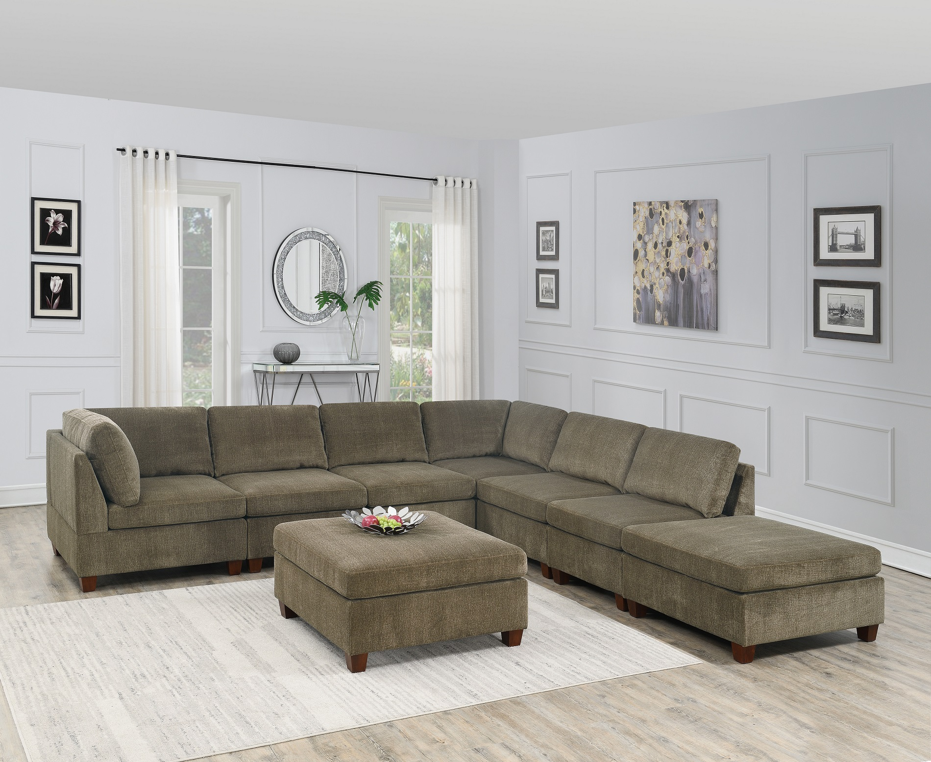 Contemporary Modern Unique Modular 8pc Sectional Sofa Set Tan Color Chenille Fabric Wood Legs 2 X Corner Wedge 4x Armless Chairs And 2 X Ottoman Walmart Com Walmart Com