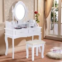 Costway White Vanity Jewelry Makeup Dressing Table Set ...