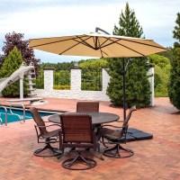 Sunnydaze Steel 10-Foot Outdoor Offset Patio Umbrella with ...