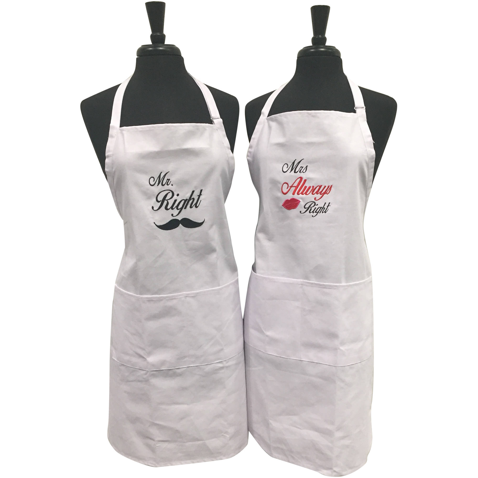 Piece Unik Unik Occasions Mr Right And Mrs Always Right Embroidered Apron Set