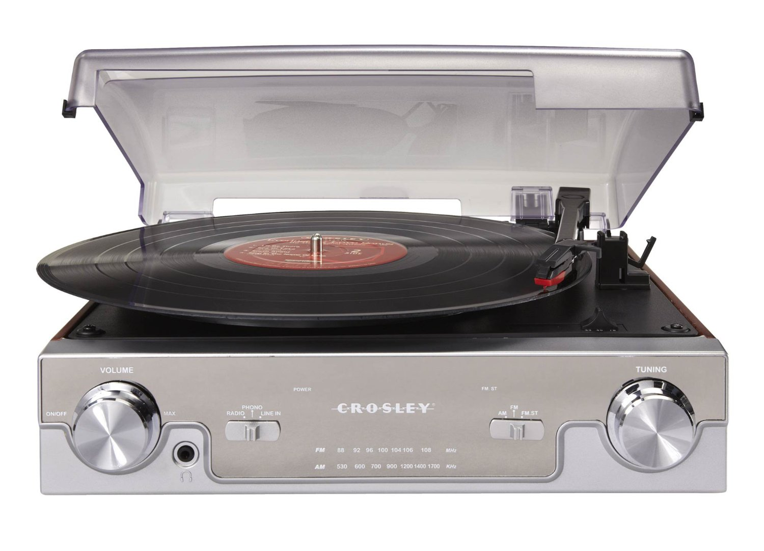 Crosley Radio Crosley Cr6005a Ma Tech Turntable With Am Fm Radio And Portable Audio Ready Mahogany