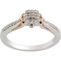 1/10 Carat T.W. Diamond Sterling Silver & 10kt Pink Gold ...