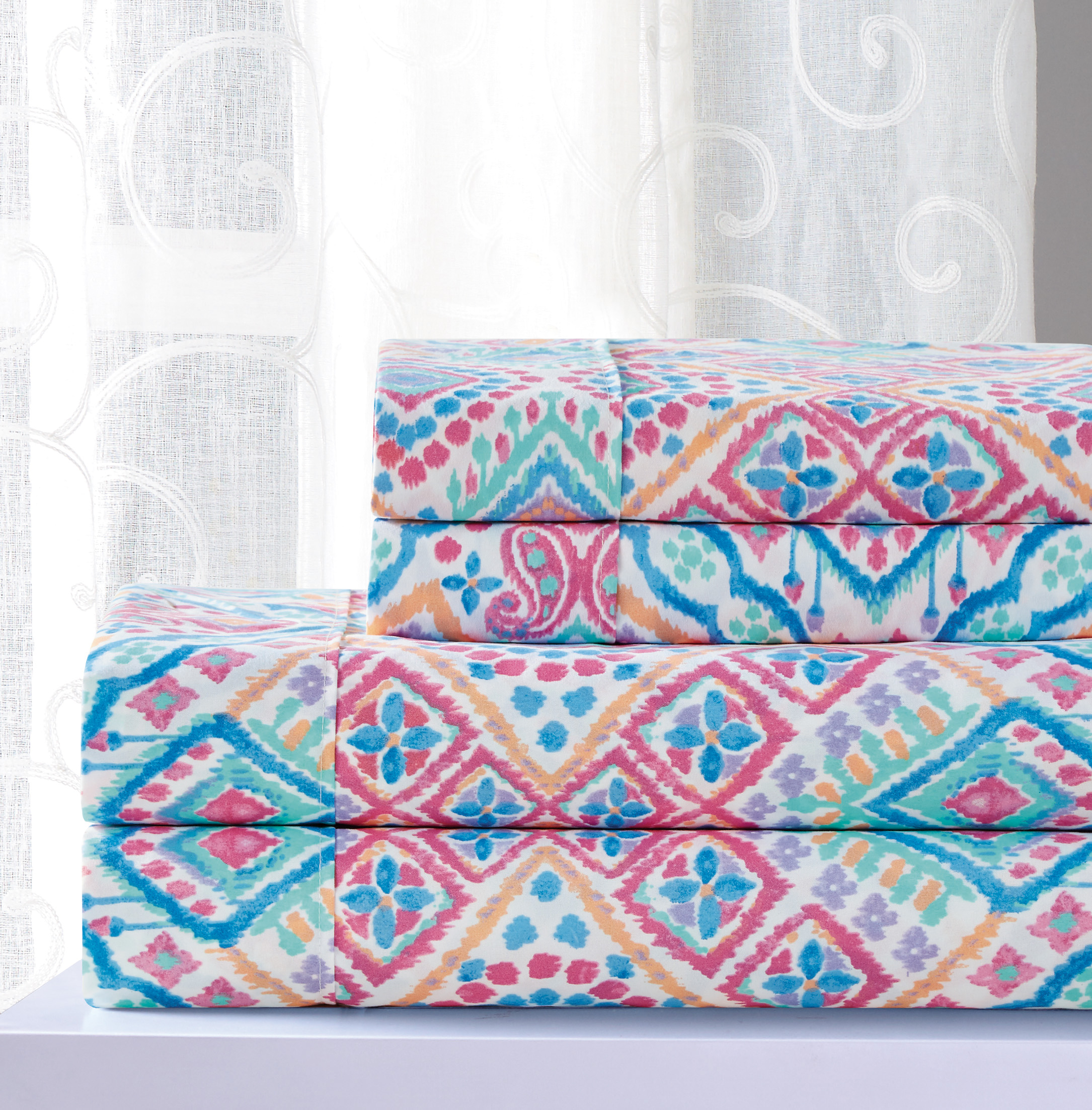 Printed Sheet Sets Essential Abby 4 Piece Printed Sheet Set Queen