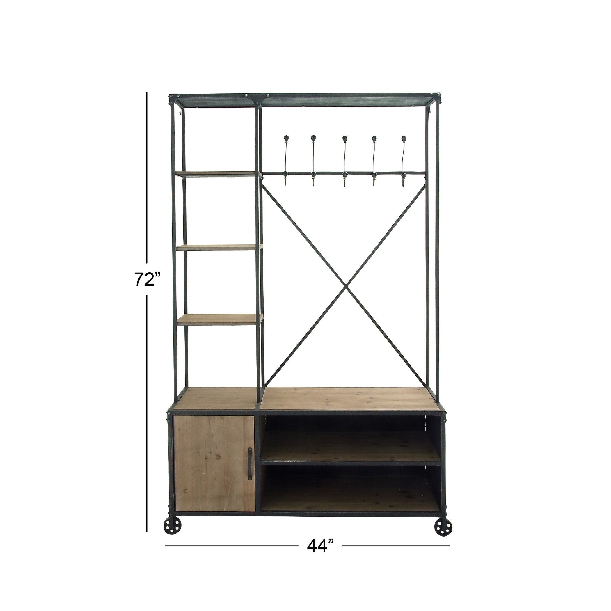 Industrial Clothing Rack Decmode Industrial 72 X 44 Inch Distressed Metal And Wood Multi Tiered Clothes Rack Chesnut