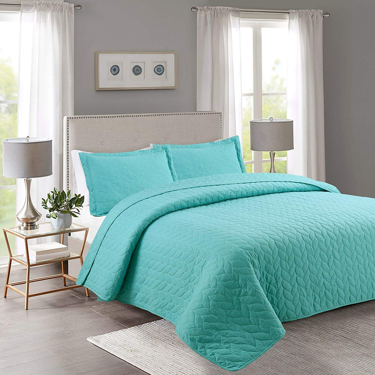 Bed Coverlet Marcielo 3 Piece Lightweight Bedspread Quilt Set Microfiber Quilt Bedspreads Bed Coverlet Set Prewashed Leaf Teal Queen