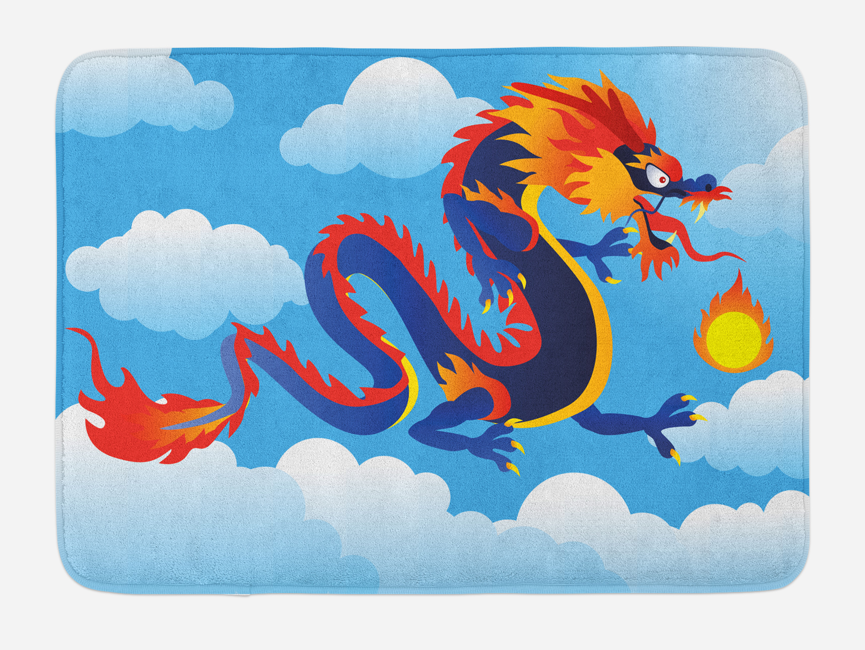 Dragon Bathroom Accessories Dragon Bath Mat Surreal Folk Tale Creature Spitting Fire