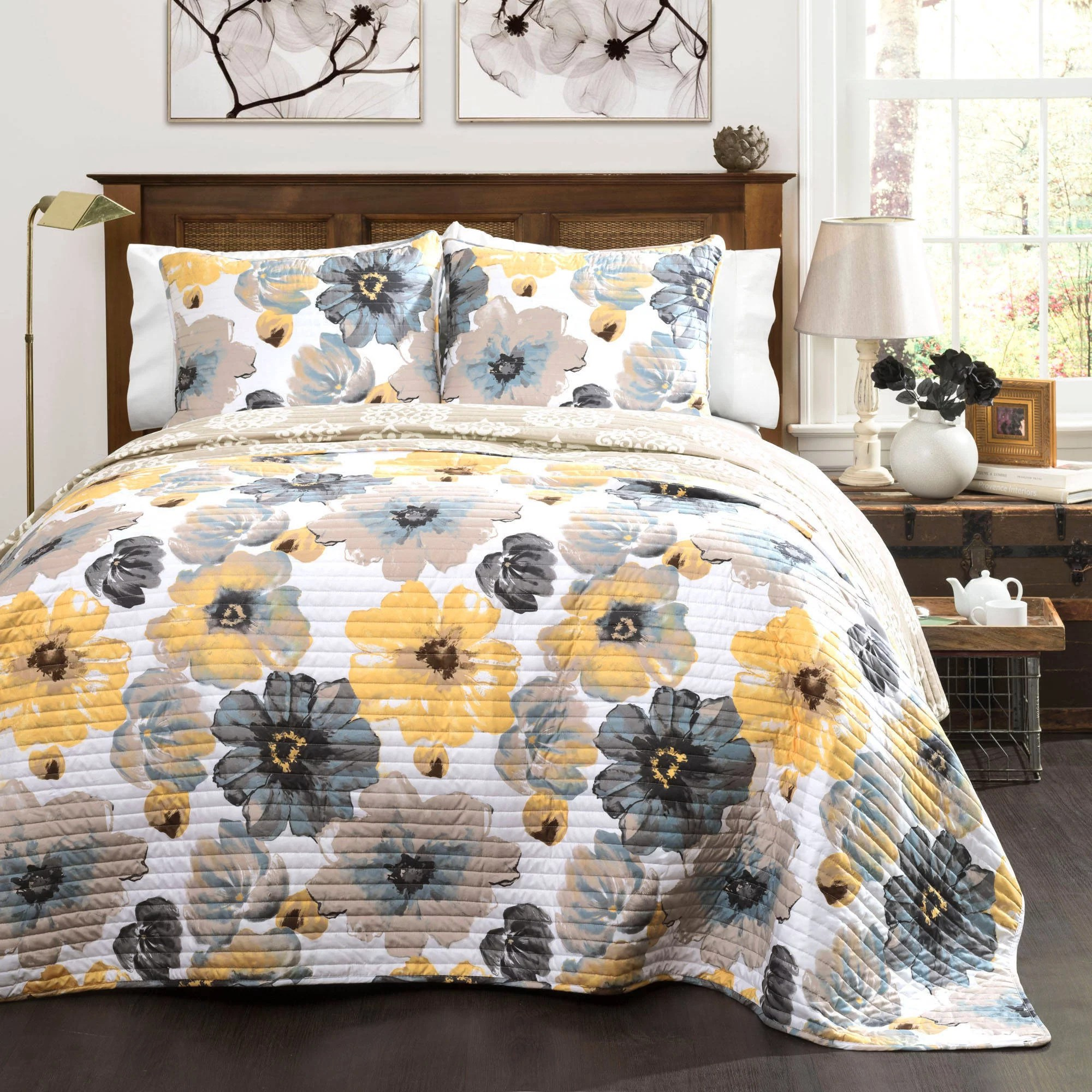 Quilt Cover King Leah Quilt 3 Piece Set Yellow And Gray