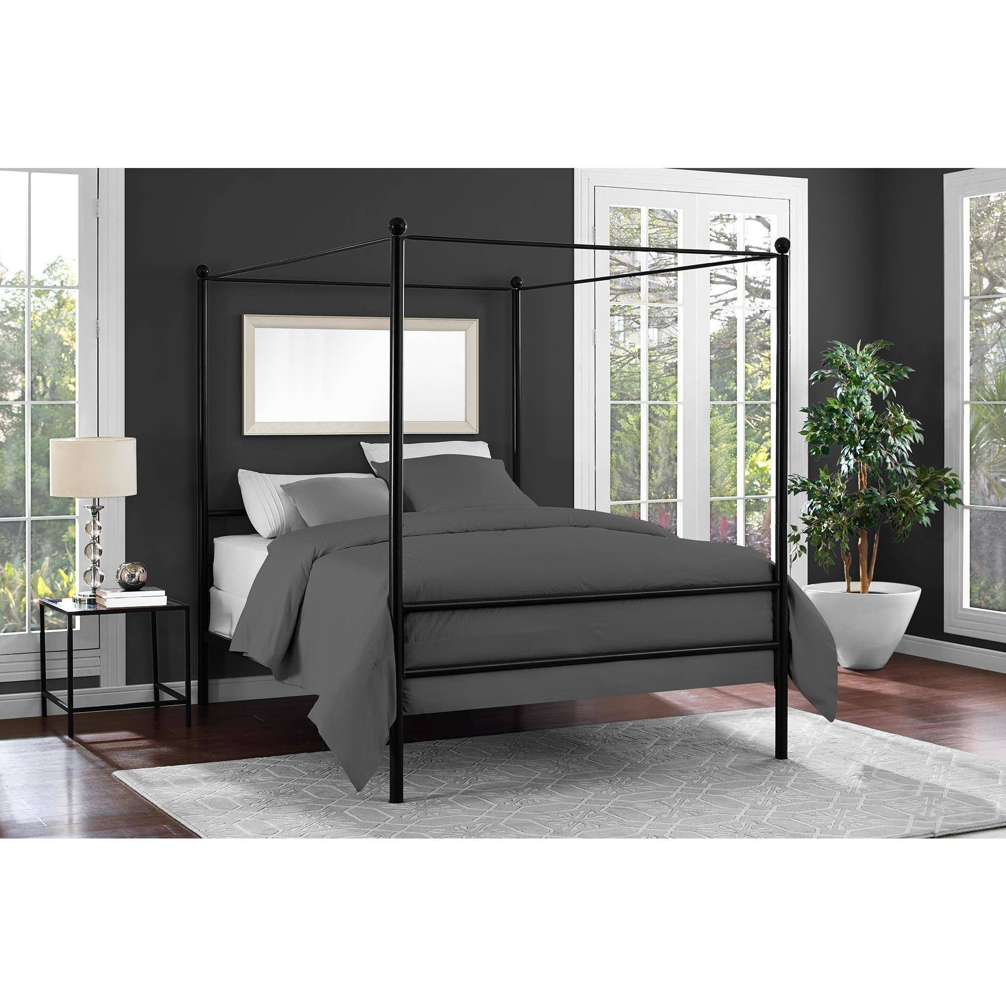 Black Four Post Bed Mainstays Metal Canopy Bed Multiple Colors Multiple