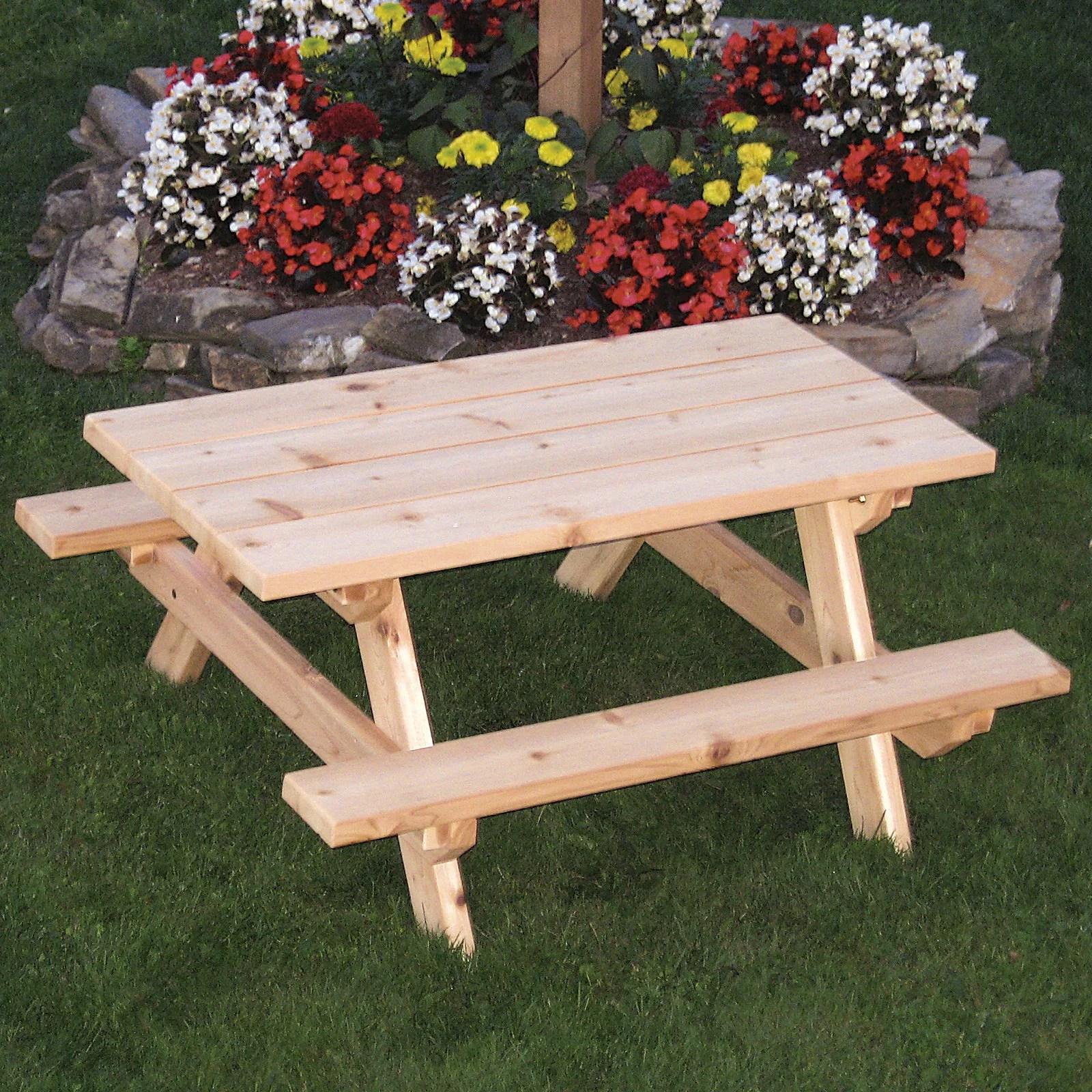 A L Furniture Western Red Cedar Kids Picnic Table
