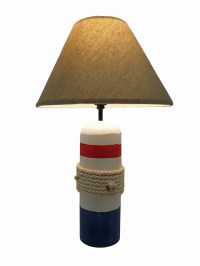 White Red Blue Rope and Seashell Nautical Buoy Lamp w ...