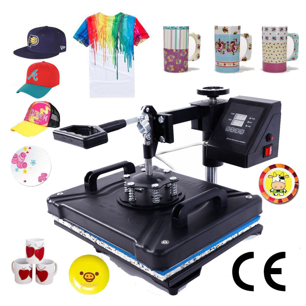 Sublimation Press Zimtown Digital 5in1 Hot Heat Press Transfer Sublimation Machine For T Shirt Cup Hat Mug Plate Cap Printing Dual Lcd Timer