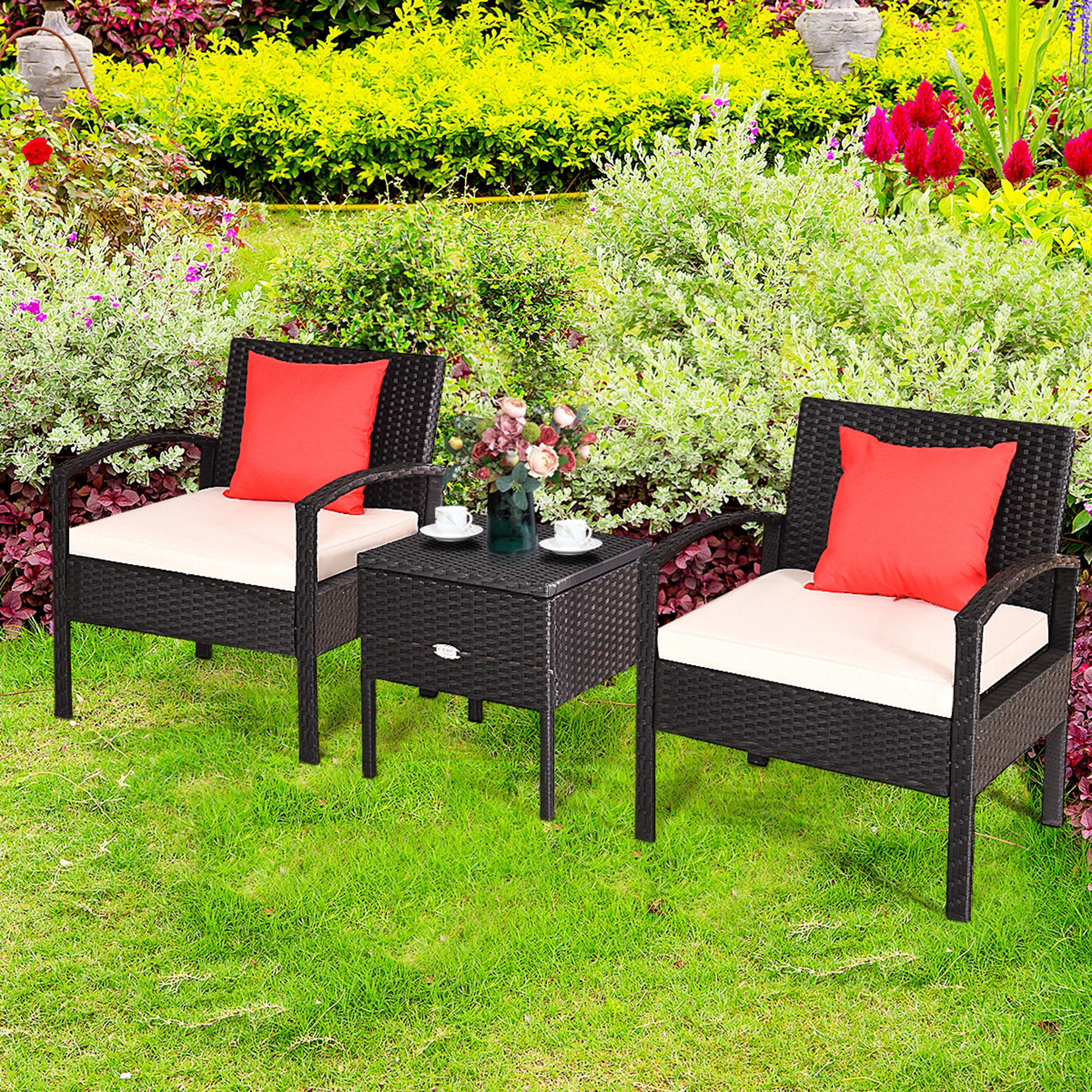 Gymax 3pcs Rattan Patio Conversation Set Outdoor Furniture Set W - Garden Furniture Clearance Mercure Hotel