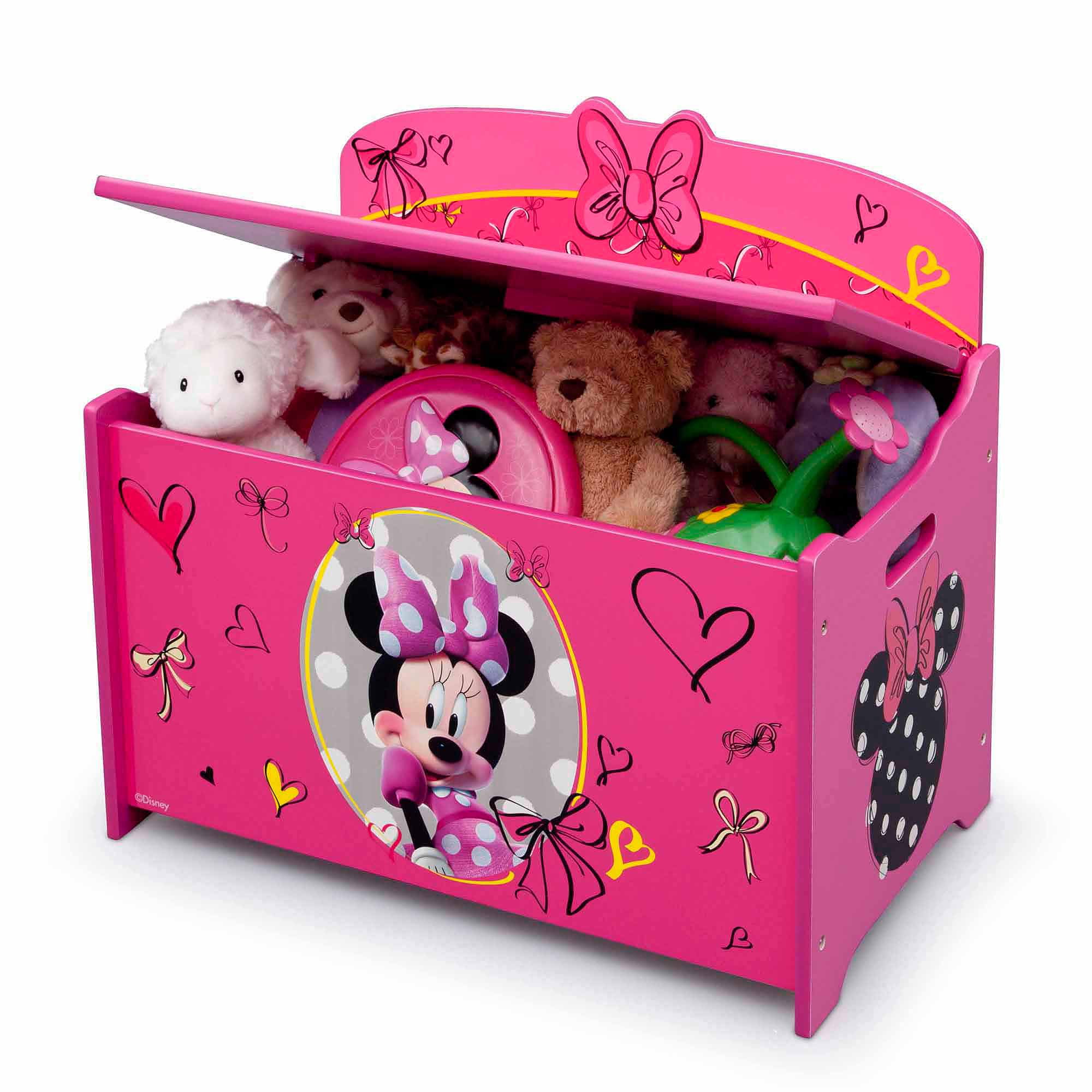 Toy Box Toys Disney Minnie Mouse Deluxe Wood Toy Box By Delta Children