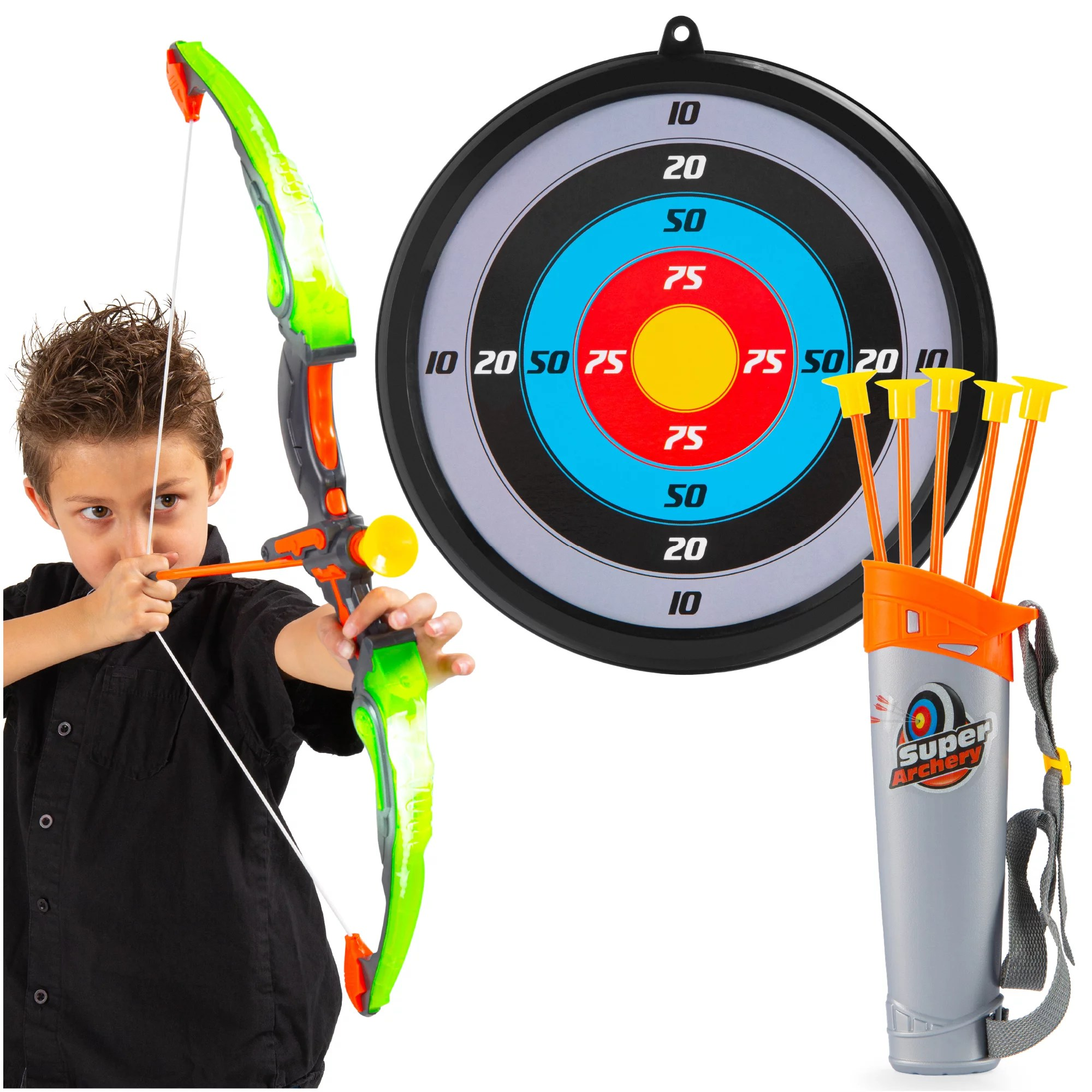 Best Choice Products 24in Light Up Kids Archery Toy Play Set W 3 Light Modes Suction Arrows Quiver Target Green Walmart Com Walmart Com