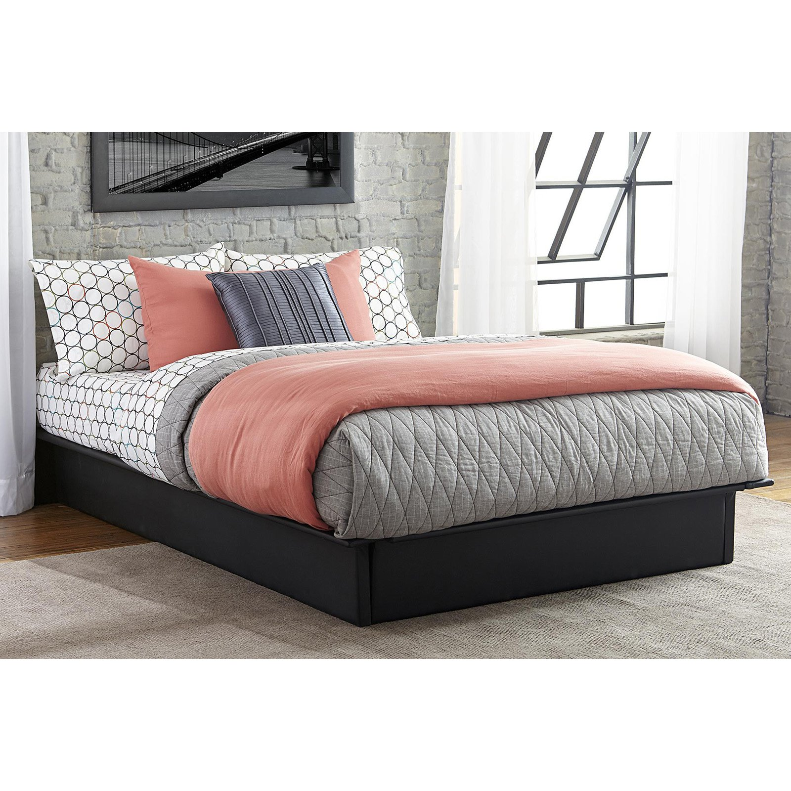 Is A Platform Bed Comfortable Dhp Maven Platform Bed With Upholstered Faux Leather And Wooden Slat Support Multiple Sizes And Colors