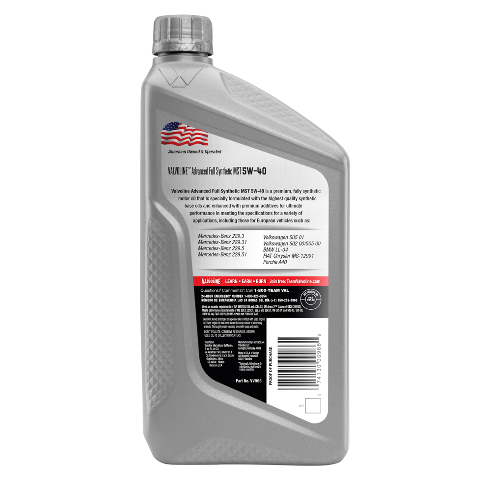 5 W 40 Valvoline Advanced Full Synthetic Sae 5w 40 Mst Motor Oil 1 Quart