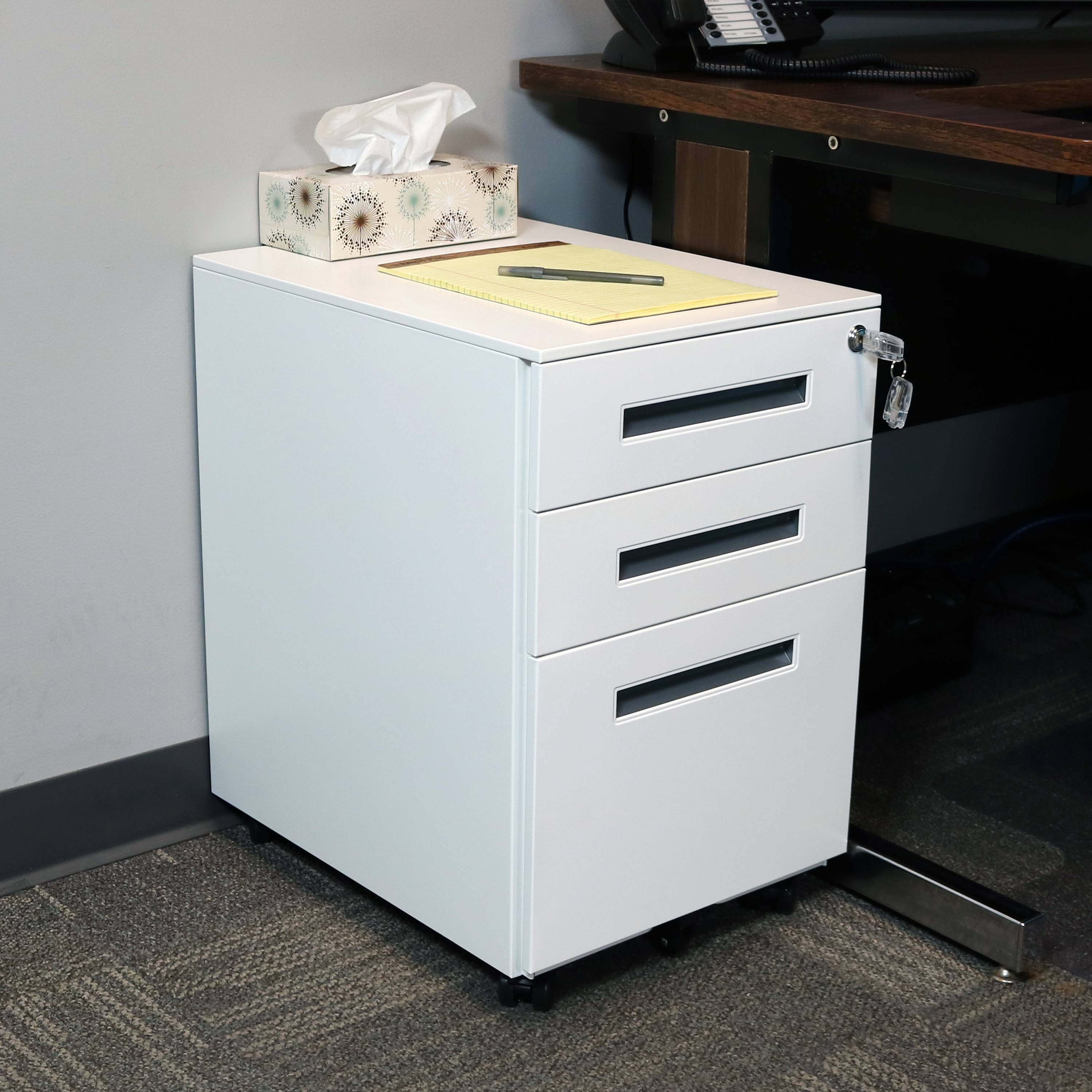 Small Filing Cabinet Casl Brands Rolling Mobile File Cabinet Pedestal With Keyed Lock Small Steel 3 Drawer Filing Storage System White With Gray Handles