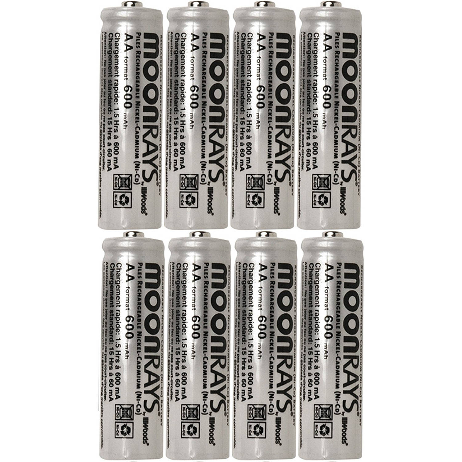 Pile Aa Rechargeable Moonrays 47740sp Rechargeable Nicd Aa Batteries For Solar Powered Units 600 Mah 8 Pack
