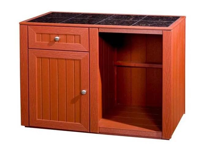Outdoor Kitchen Server w Storage Cabinet (Deep Red