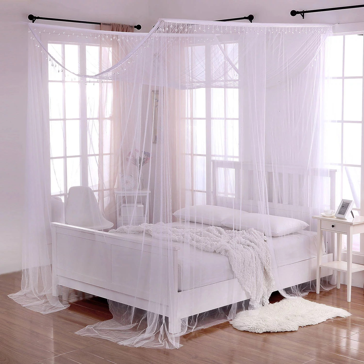 4 Poster Canopy King Bed White Crystal Palace 4 Post Bed Sheer Mosquito Net Panel Canopy