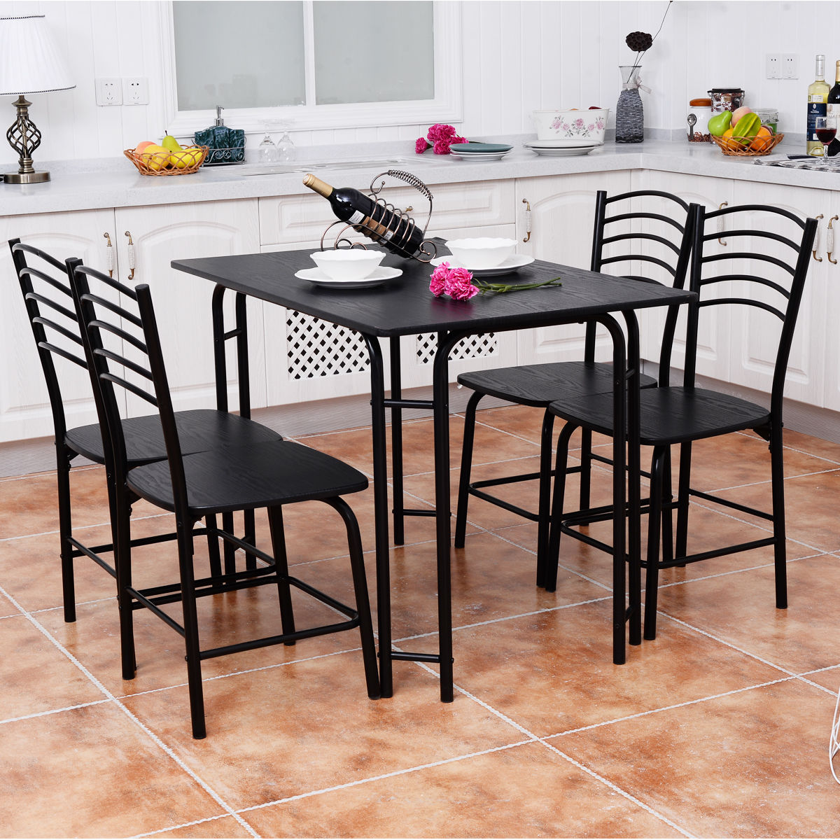 Modern Dining Set 5 Pcs Modern Dining Table Set 4 Chairs Steel Frame Home Kitchen Furniture Black