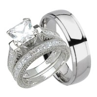 His and Hers Wedding Ring Set Matching Trio Wedding Bands ...