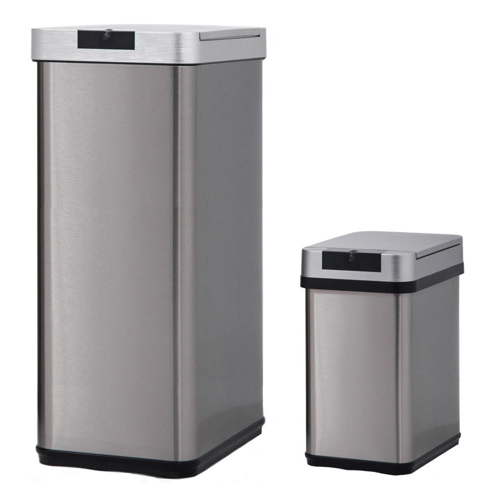 Stainless Steel Recycling Bins Trash Bin For Office Kitchen Bathroom Bedroom Stainless Steel With Lid Indoor 13 Gallon 50 And 2 4 Gallon 9l Sensor Automatic Trach Bin And