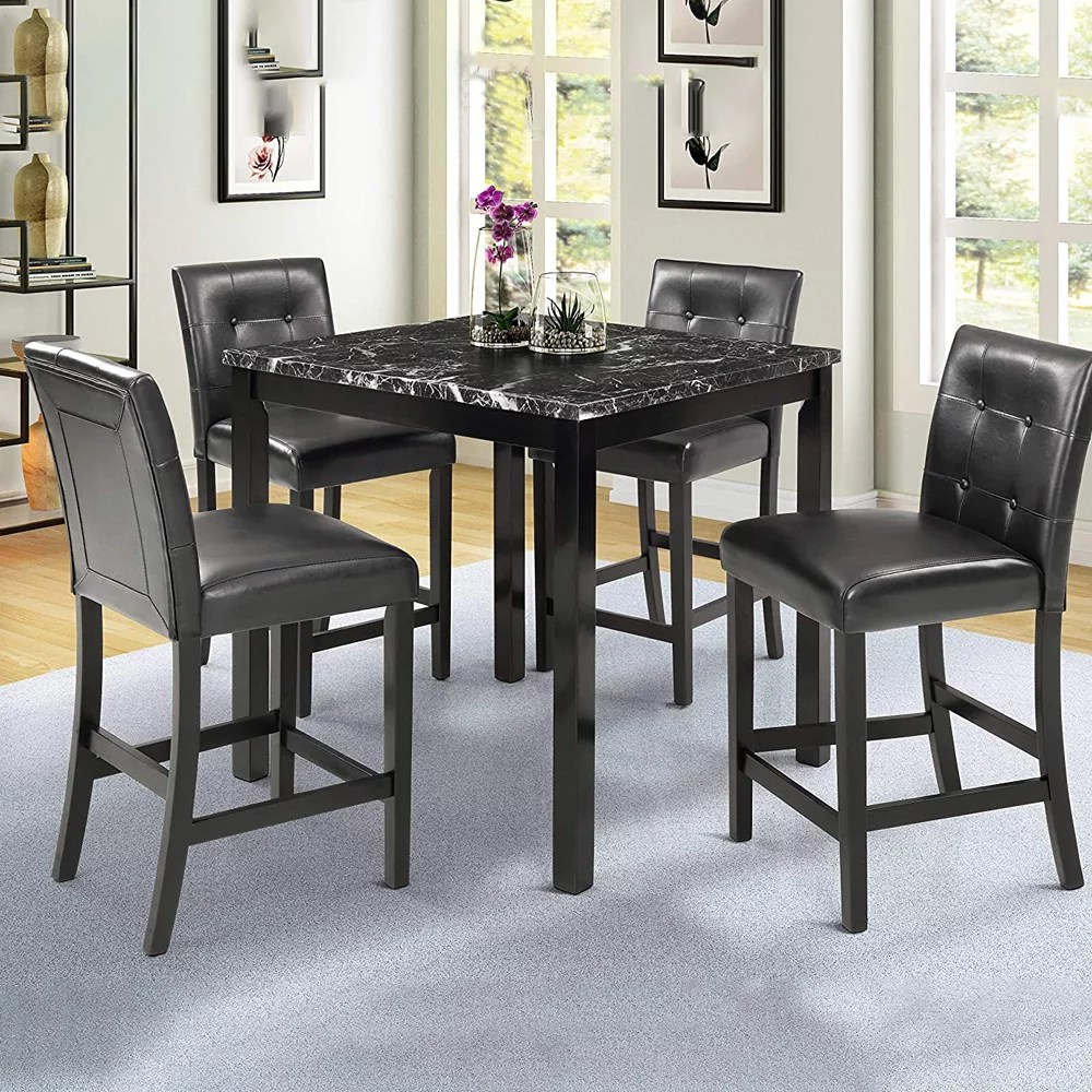 5 Piece Dining Room Table Set Urhomepro Counter Height Dining Table Set For 4 Modern Dining Set With Faux Marble Top 4 Chairs Wooden Kitchen Table And Chairs Small Spaces Furniture Black W13320