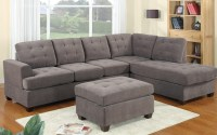 2 Piece Modern Reversible Grey Tufted Microfiber Sectional ...