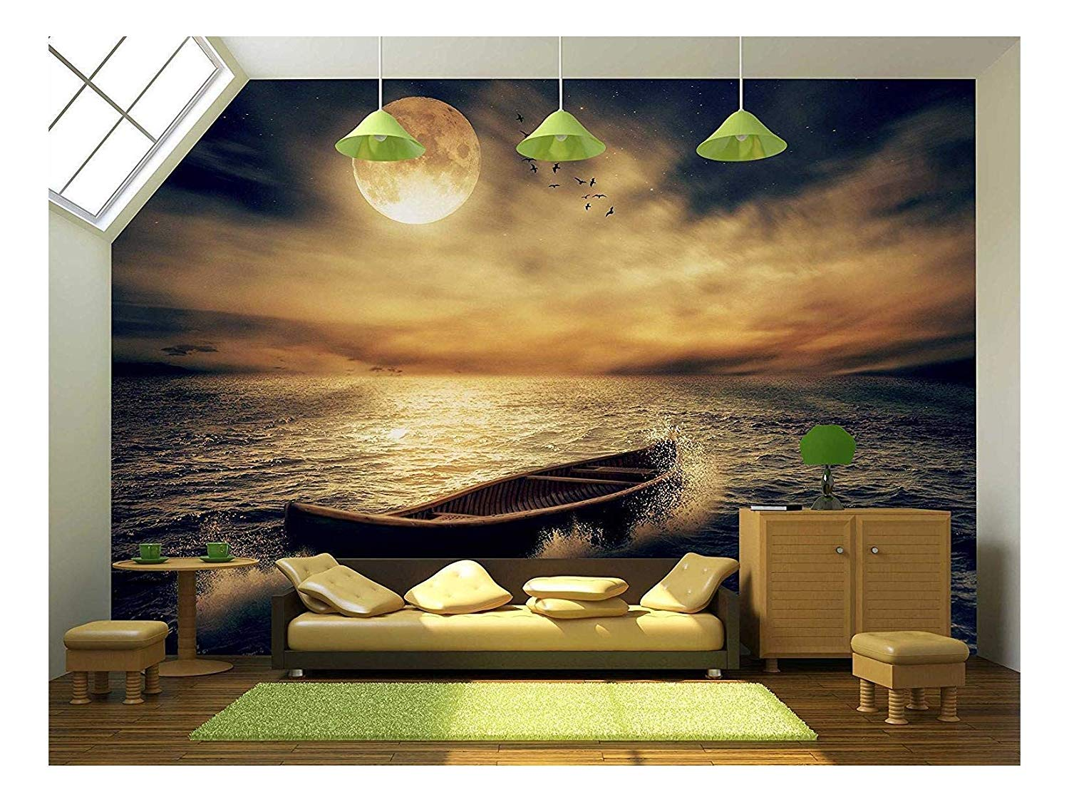 wall26 - Boat Drifting Away from Past in Middle of Ocean after Storm - Removable Wall Mural ...
