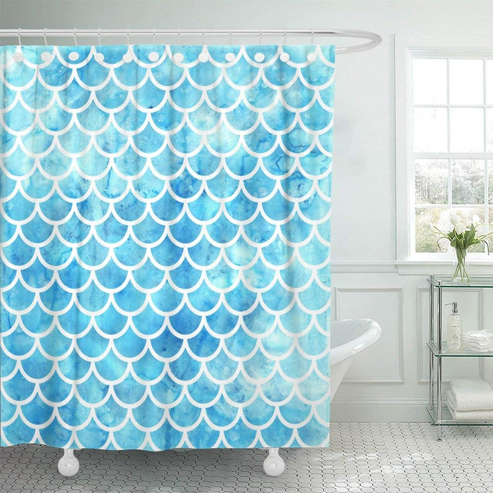 Mermaid Scale Shower Curtain Wopop Blue Skin Mermaid Scales Watercolor Fish Bright Summer Pattern With Reptilian Green Abstract Animal Shower Curtain 60x72 Inch