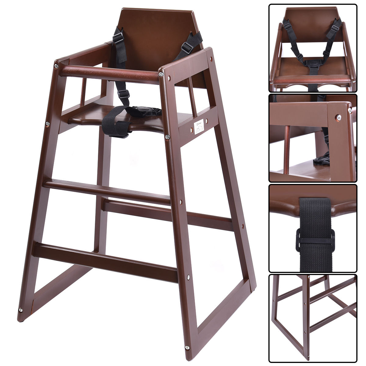 Costway Baby High Chair Wooden Stool Infant Feeding