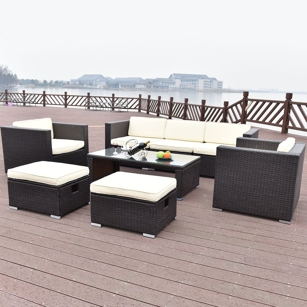 Rattan Sofa Corner Set Costway 8 Pcs Outdoor Patio Rattan Wicker Furniture Set Sofa Cushioned Garden Brown