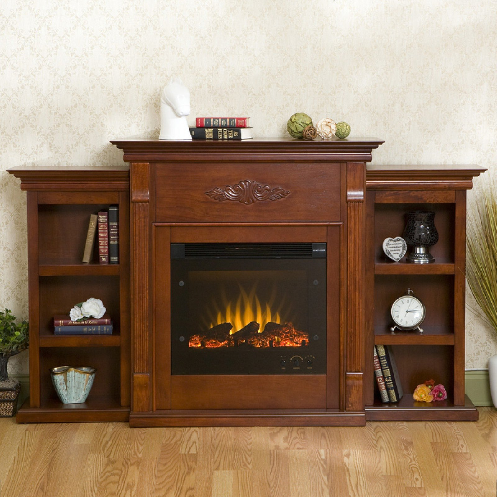 Tennyson Bookcase Electric Fireplace Southern Enterprises Tennyson Mahogany Electric Fireplace With Bookcase