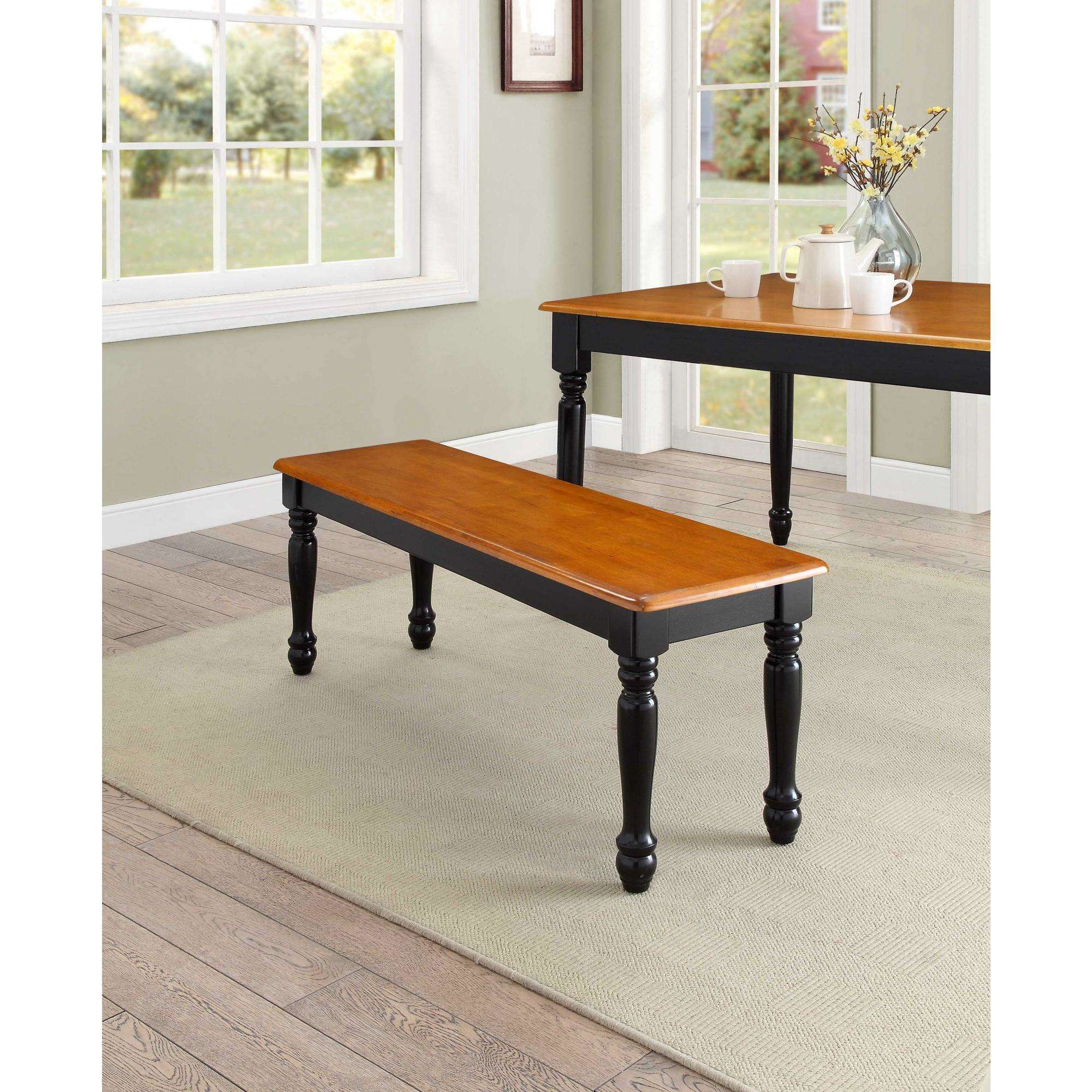 Wooden Bench Table Better Homes Gardens Autumn Lane Farmhouse Solid Wood Dining Bench Black And Natural Finish