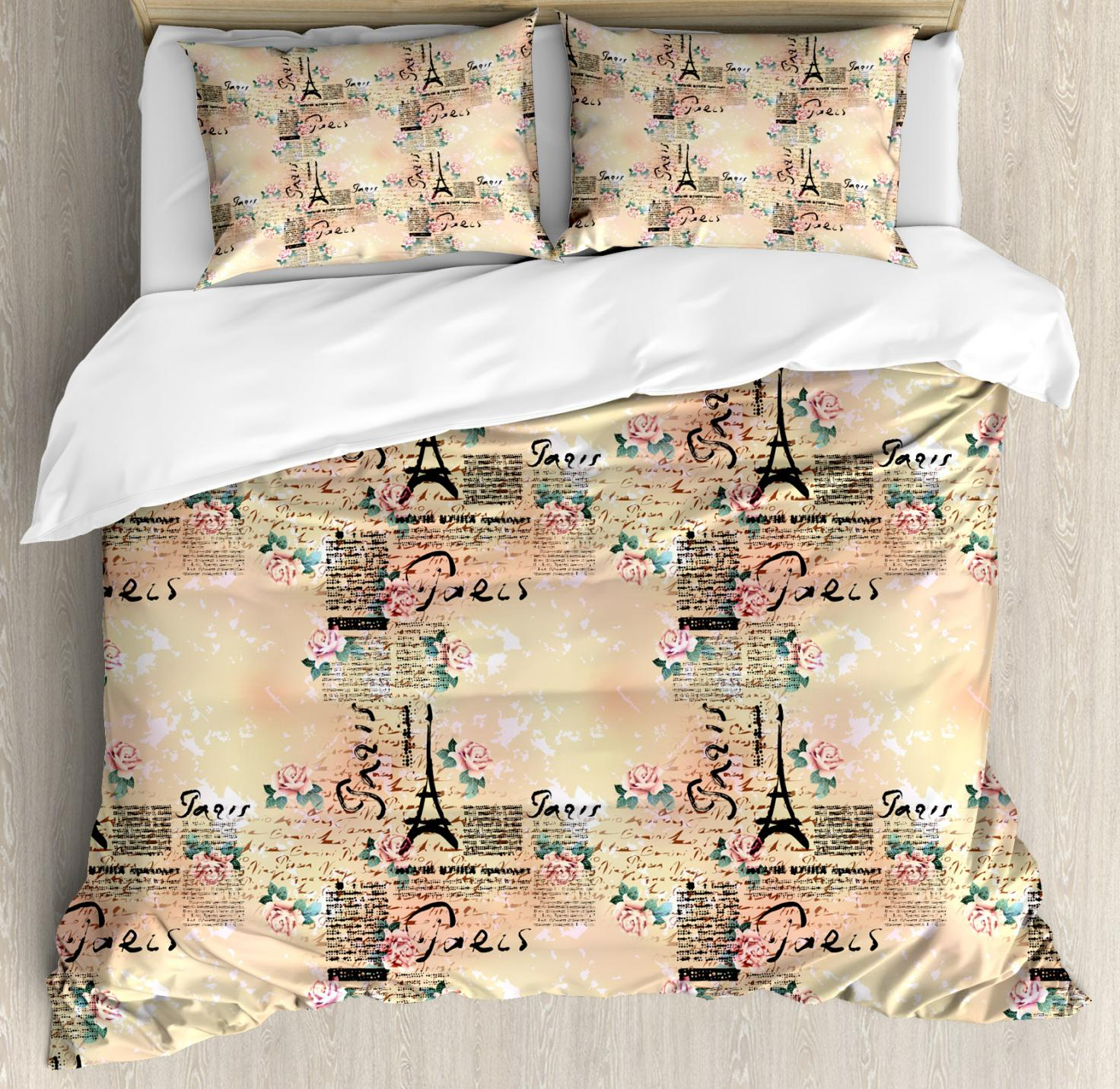 Modern Duvet Modern Duvet Cover Set French Paris Themed Lettering With Floral Leaves Details Artwork Decorative Bedding Set With Pillow Shams Blue Black And