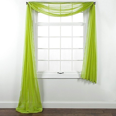 Pc solid lime green scarf valance soft sheer voile window panel