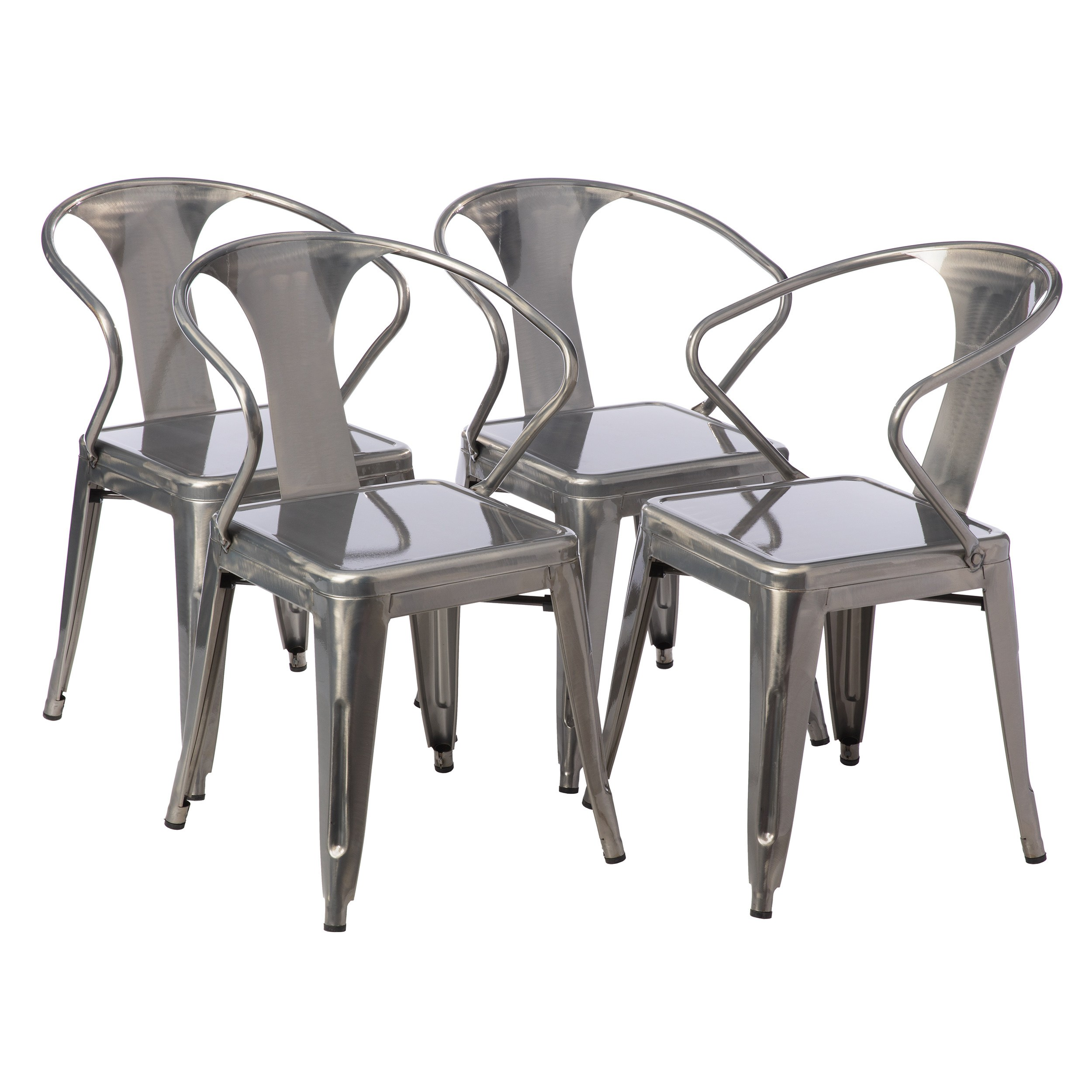Tabourets Walmart Tabouret Gunmetal Stacking Chair Set Of 4 Walmart