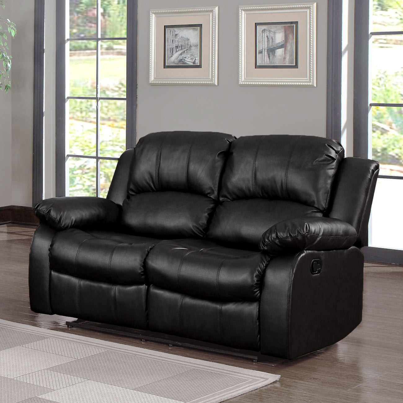 Classic Oversize And Overstuffed 2 Seat Bonded Leather Double Recliner Loveseat Black Walmart Com Walmart Com