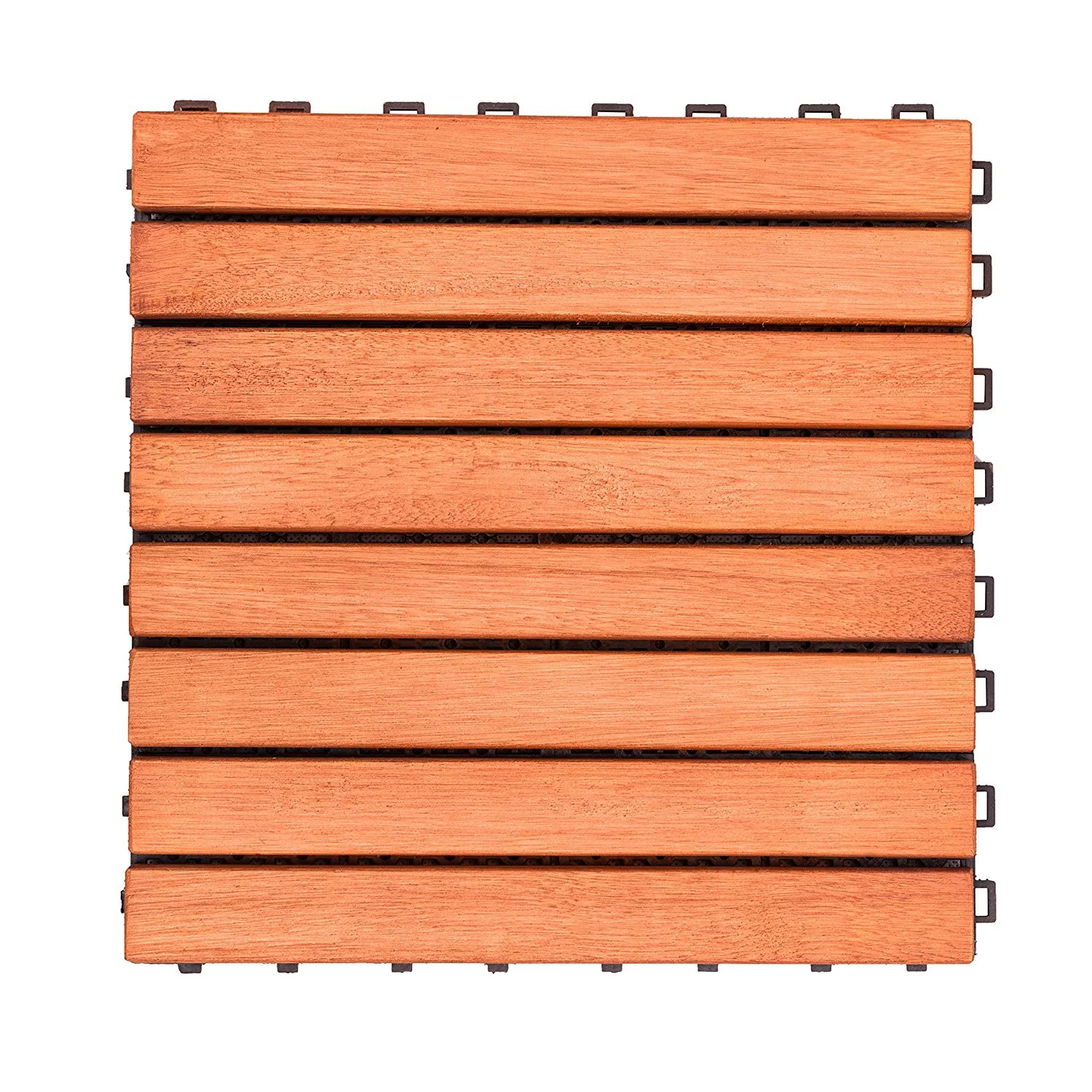 Interlocking Deck Tiles Outdoor Patio 8 Slat Eucalyptus Interlocking Deck Tile Set Of 10 Tiles