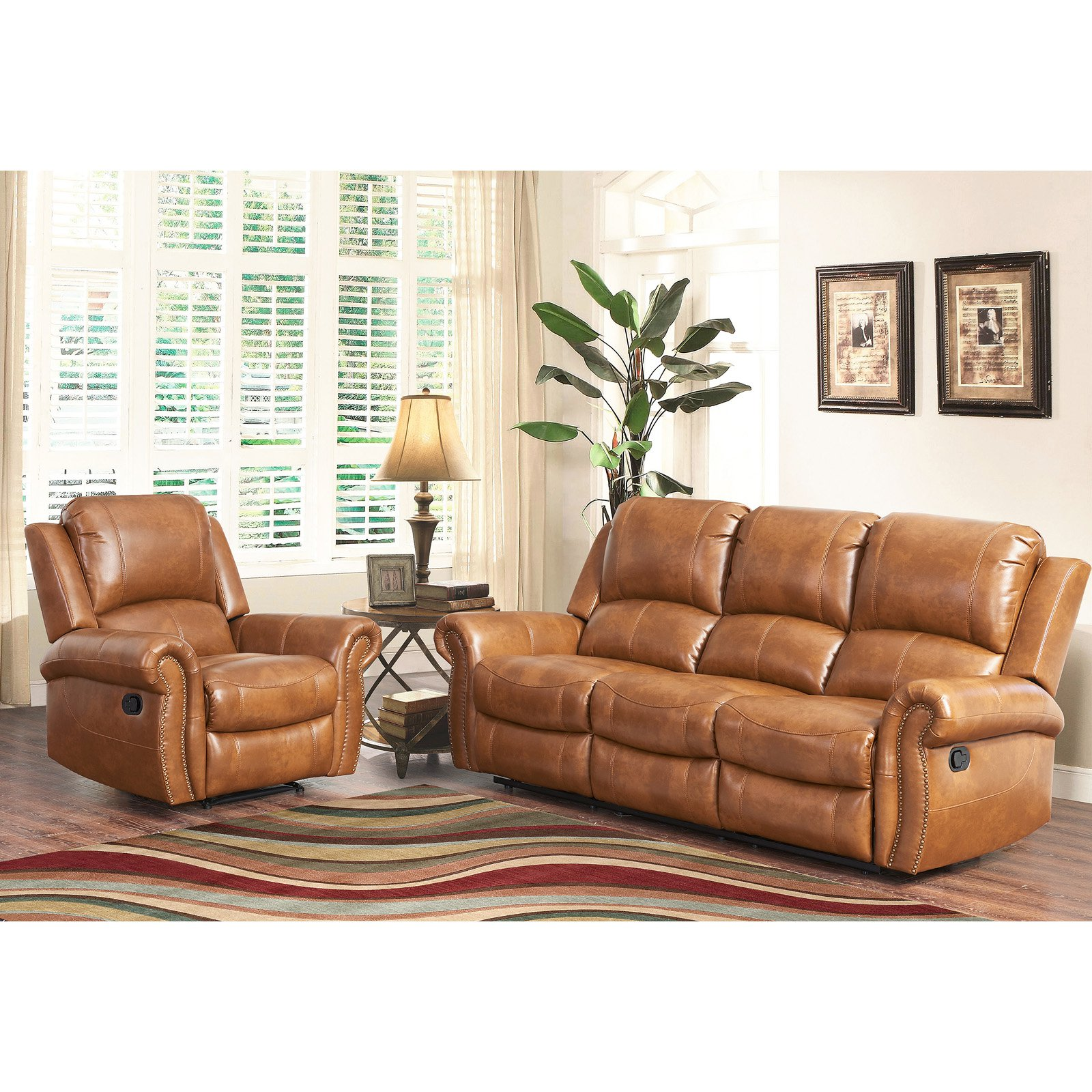 Sofa Cognacfarben Abbyson Hayley Cognac Sofa And Chair Reclining Leather Set