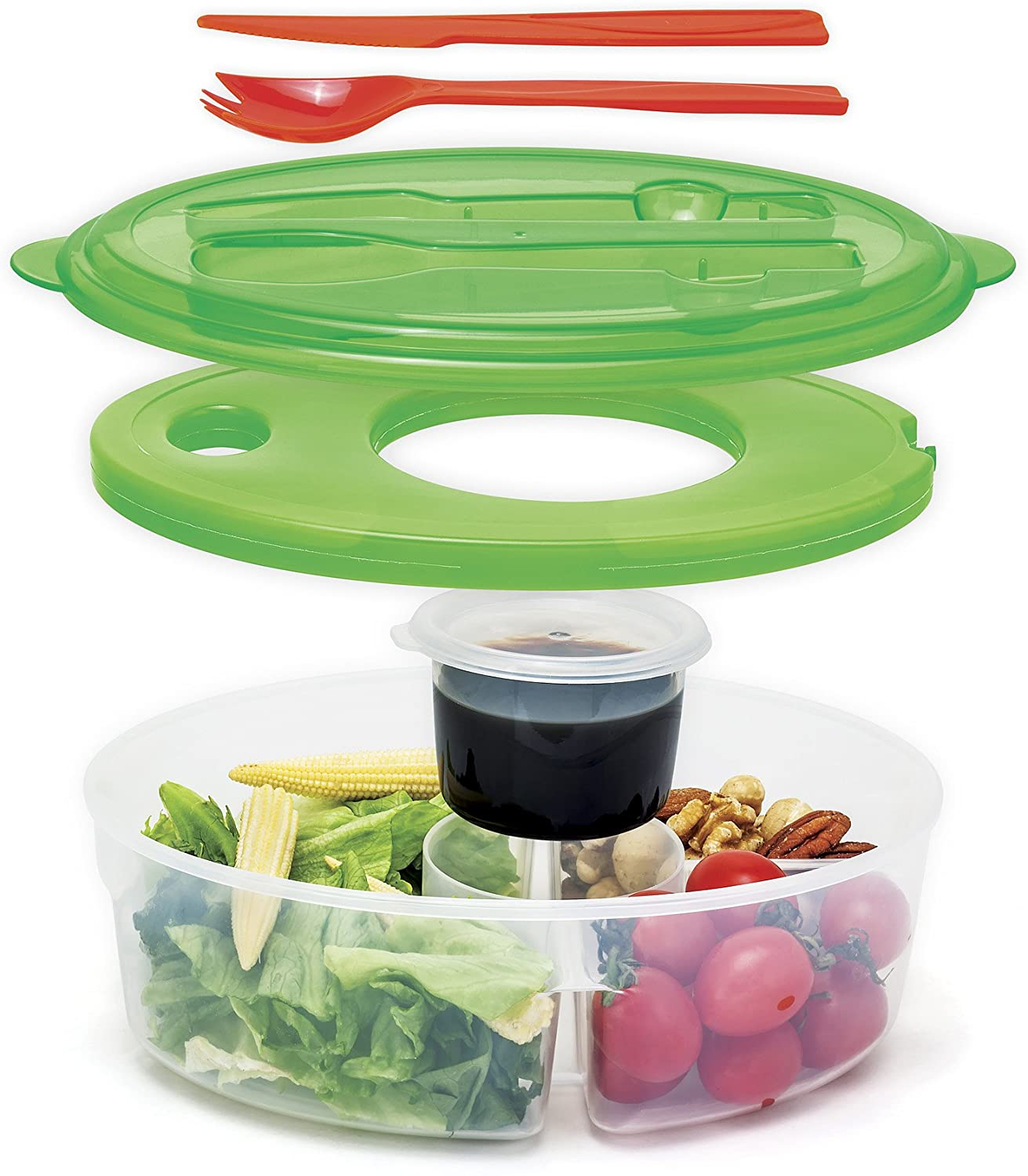 Ii 136 6 Pc Container Salad Continer Lunch Box Green Walmart Com Walmart Com