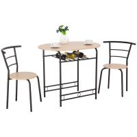 Costway 3 PCS Dining Set Table and 2 Chairs Home Kitchen ...