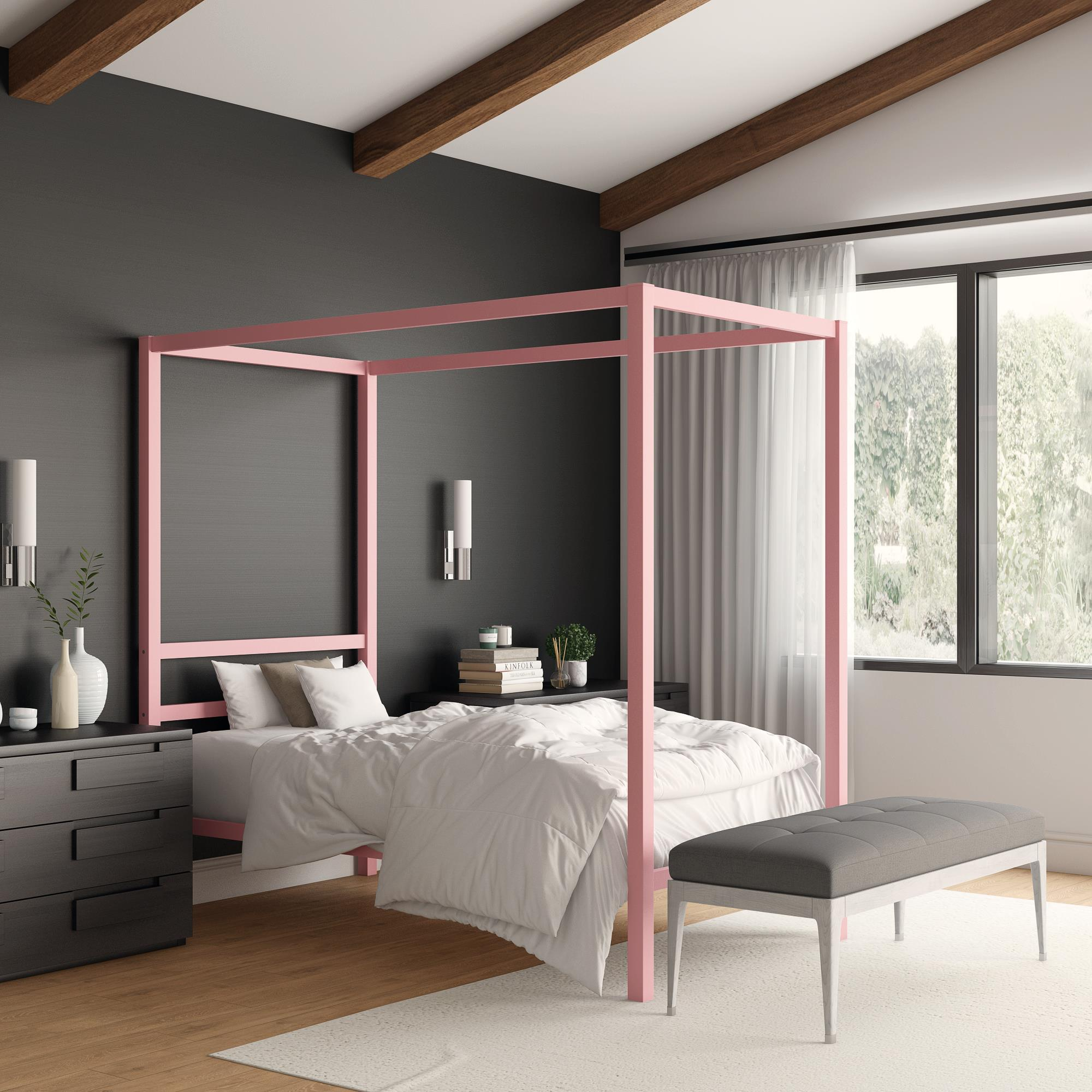 Modern Bed Frame Design Realrooms Jasmine Metal Canopy Modern Bed Frame Multiple Colors And Sizes