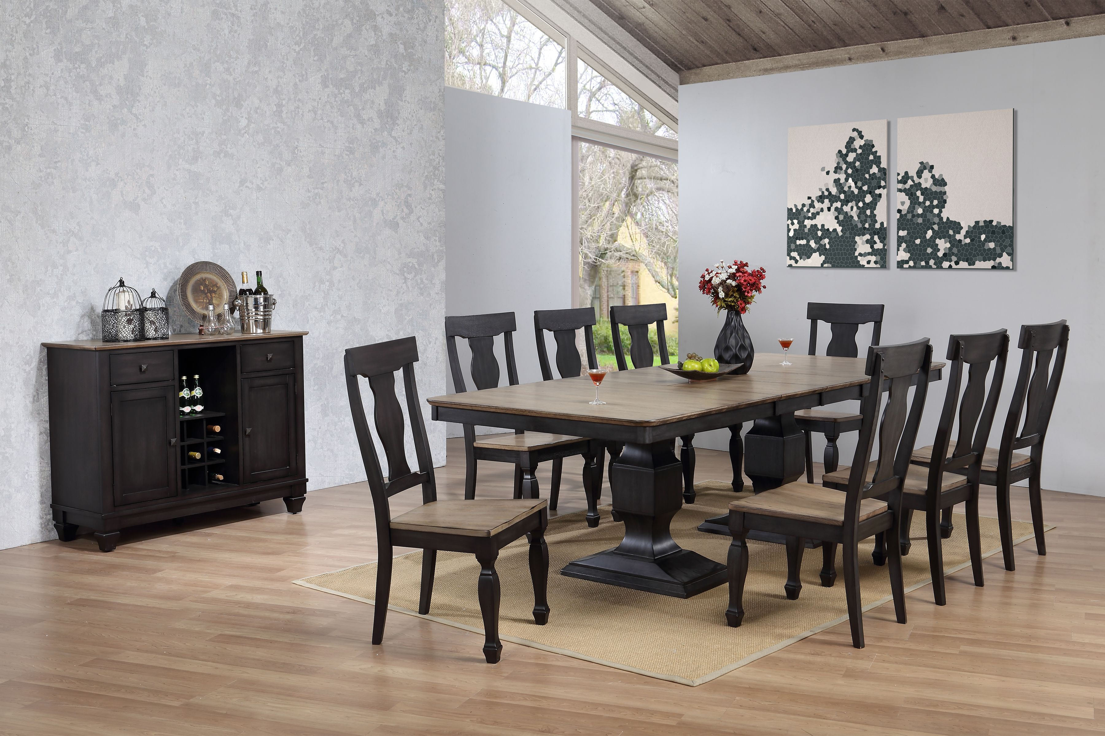 Baby Chairs At Walmart Nysha 10 Piece Dining Room Set Charcoal Oak Wood