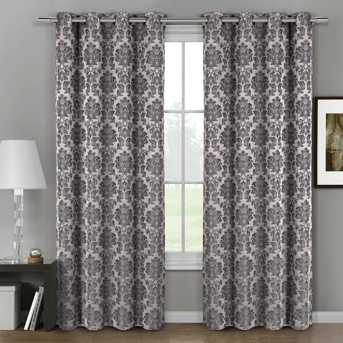 Jacquard Curtains Pair Set Of 2 Aryanna Damask Floral Curtains Jacquard Grommet Panels 108x108 Gray
