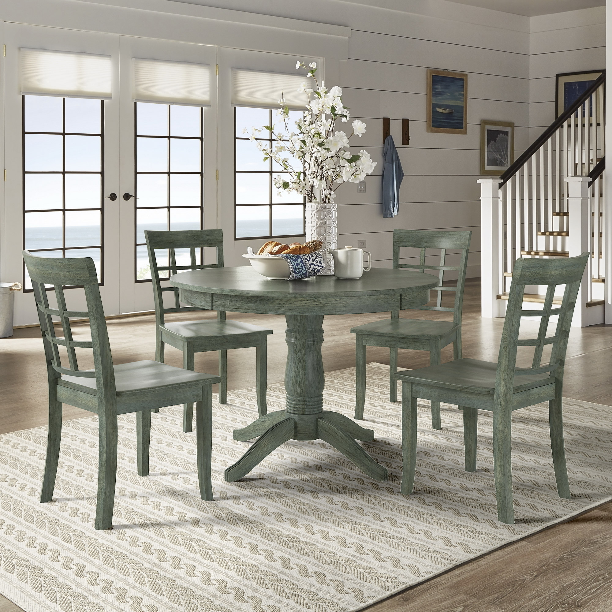Inspire Q Wilmington Ii Round Pedestal Base Antique Sage Green 5 Piece Dining Set By Classic Walmart Com Walmart Com