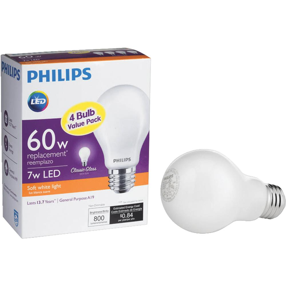 Bulb Philips Philips Lighting Co 4 Pack A19 60w Sw Led Bulb 469817