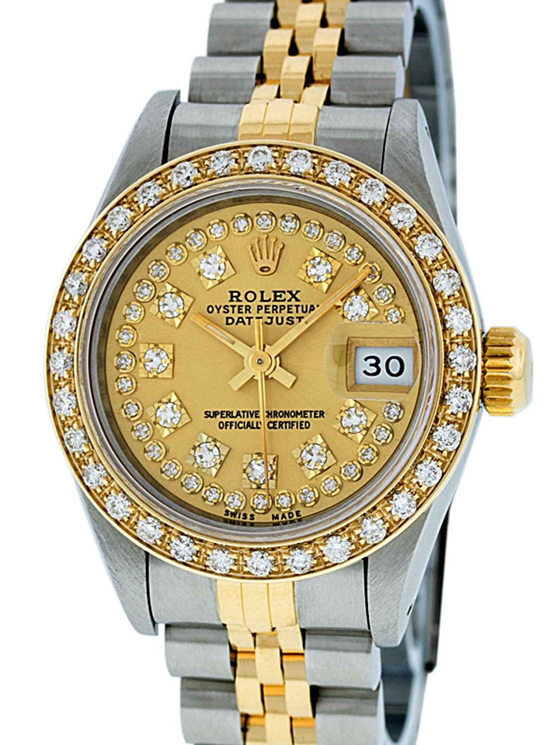 Steel Rolex Pre Owned Rolex Ladies Datejust Steel 18k Yellow Gold Champagne String Diamond Watch Jubilee Quickset